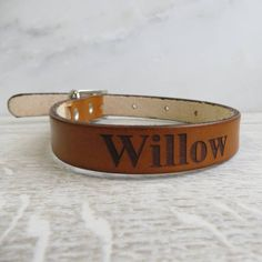 whiskey brown Personalised Leather Dog Collar