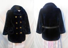 70s Navy Blue Double Breasted Faux Fur by ReincarnationsResale, $45.00