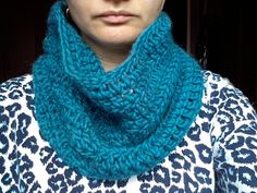 Unisex turquoise wool neck warmer on crochet (art. 54)