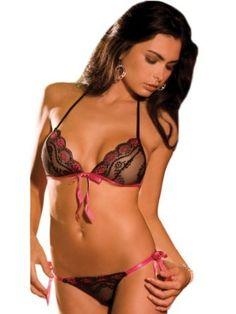 Sexy Black Sheer Lace Tie Up Bra with Matching Thong 2 Piece Set,  http://pinterest.com/sjohan7/sexy-lingerie/