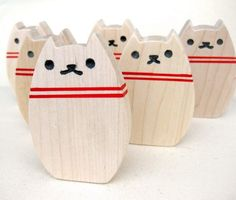 This Bowling Kitty wooden toy set is beyond adorable.