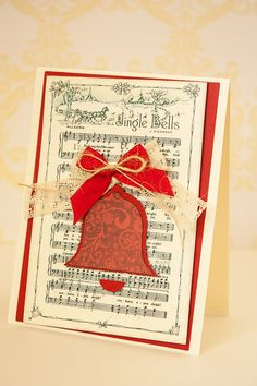 Christmas Holiday Season Jingle Bells Carol Card with Paper Bell and Crochet Lace Ribbon Twine Bow, Jingle Bells Antique Music Sheet Card