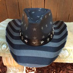 1ef48f78030ad Black and Grey Flag Straw Cowboy Hat Vintage Look with Black Hat Band with  Stars. It will go with jeans dress and boots for a fun day or for a night  on the ...