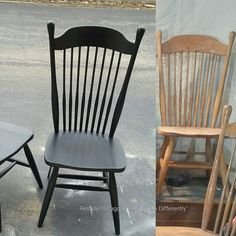 These chairs came out beautiful! Before & After Lamp Black. Great job Restyle Team! #restylechicago #reluxvintage #paintedfurniture #generalfinishes https://www.instagram.com/p/BRb9UyyAmRO/