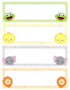 Cute animal kids name tags with beautiful animal faces on corners Illustration , Preschool Art, Preschool Activities, Animal Kids Name, Nametags For Kids, Crying Emoji, Doll House Crafts, Kids Background, School Labels, Diy Back To School