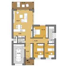 Plan of L shaped house - bungalow L Shaped House Plans, Small House Floor Plans, 3 Bedroom Bungalow, House Plans 3 Bedroom, Site Plan Drawing, Apartment Floor Plans, Spacious Living Room, Big Houses, House Design