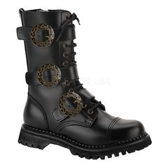 Styled with straps across the entire shaft, these mid-calf bootsinclude steampunk buckles. These leather boots from Demonia hit atthe knee and finish with a lace-up front. Color options: Black, brown