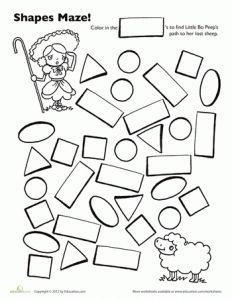 maze preschool shapes and worksheets on pinterest. Black Bedroom Furniture Sets. Home Design Ideas