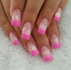 Pink French tip nails.. with glitter♥