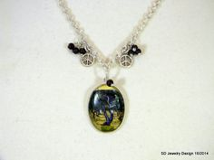 Tree Picture Pendant Necklace with Brown Snow by SDJewelryDesign16, $30.00