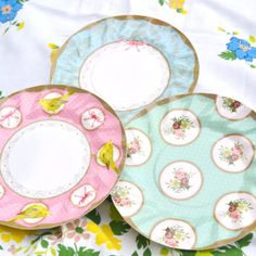 Party Paper Plates Vintage Chic Great For Birthday by HOMEnAWAY