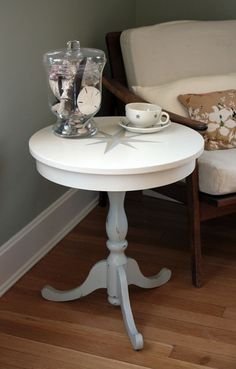 Nautical Cafe Side Table with Handpainted Compass by GemsOfTheSoil