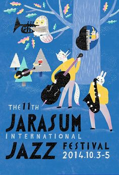 Series of poster illustration for Jarasum international Jazz and Rhythm and Barbecue festivals during Musikfestival Poster, Kunst Poster, Poster Layout, Cute Poster, Art And Illustration, Illustrations And Posters, Graphic Design Illustration, Jazz Festival, Festival Posters