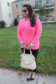 Hot Pink Sweater & Polka Dot Blouse from Forever 21...