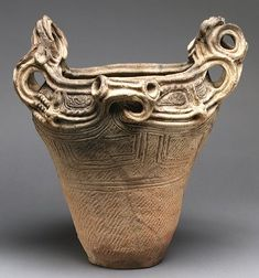 Jomon pottery - vessel from Myanomae, Nagano Prefecture, Middle Jomon, 2500-1500 BCE, Early Japanese. The pottery vessels crafted in Ancient Japan during the Jōmon period are generally accepted to be some of the oldest in the world.