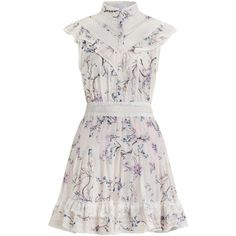 ZIMMERMANN Paradiso Lilac Flutter Dress (1,410 PEN) ❤ liked on Polyvore featuring dresses, vestidos, white dress, short white dresses, short summer dresses, lace summer dress and floral dresses