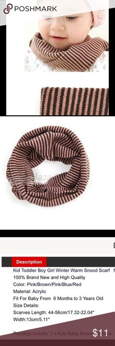 Baby boy girl toddler scarf neckerchief striped Brand new in package baby toddler 6 months - 3 yrs striped neckerchief brown and pink striped scarf.  Bundle and save.  Buy with confidence I am a top rated seller, mentor, and fast shipper.  Thank you. Accessories