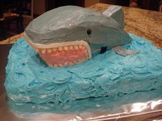 This weekend was Boston's birthday. He wanted a shark cake. A shark cake?I thought. Hmmmmm. Well I found one someone had made online and tri...