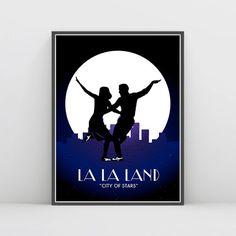 La La Land, La La Land Wall Art, City of stars, Ryan Gosling, Emma Stone , La la land movie Poster, Art Deco, Silhouette, Mia & Sebastian
