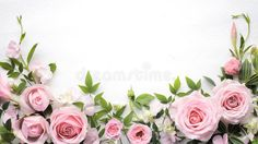 Rose flower with leaves frame. Flat lay rose flower with leaves frame , Beautiful Flowers Images, Flower Images, Flower Photos, Pink Roses, Pink Flowers, Royalty Free Images, Royalty Free Stock Photos, Adobe, Flower Petals