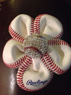 Baseball Flower:  I made this to add to a cute hat, headband, or jean jacket!