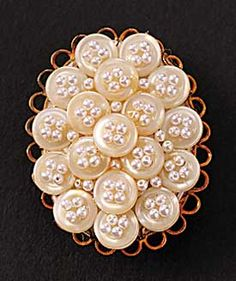 (::)  Button Pin, pretty with seed beads in the thread holes.