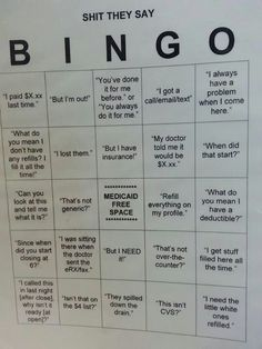 Pharmacy bingo via cynical pharmacist