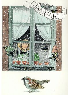 A Swedish postcard that makes me smile! The Swedish Gift Shop Elsa Beskow, Winter's Tale, Months In A Year, Children's Book Illustration, Poster, Vintage Art, Illustrators, Pin Up, Drawings