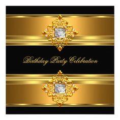 Elegant Gold Black Birthday Party Personalized Invitation