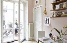 pale pink kitchen, pink wall colour, string shelves in kitchen, fantastic frank, scandinavian interior styling Stockholm, Gravity Home, Scandinavian Interior Design, Love Your Home, Pink Walls, Apartments For Sale, Cottage Homes, Apartment Living, Interior Inspiration