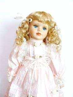 Vintage Porcelain Doll  Girl Toy  Baby Doll by PrettyShinyThings4U, $20.00