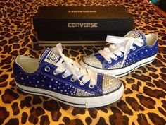 Full Rhinestone Converse with Ombré Sides by ConverseCustomized Bedazzled Converse, Rhinestone Converse, Cute Converse, Converse Shoes, Converse Tenis, Disney Converse, Bling Shoes, Prom Shoes, Wedding Shoes