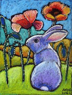 9x12 Original Rabbit Painting Oil Pastel by AndeHallFineArt