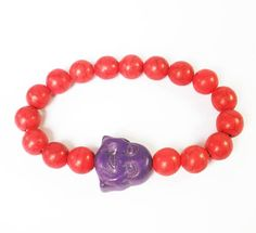 Retail 1pcs Lovely Turquoise Stone Dark Purple Smile Buddha Red Bead Stretchy Bracelet ZZ2624-2020M by www.ig-cn.com, $3.99