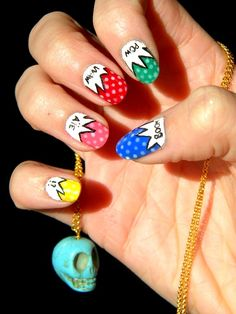 Comic Nails! ( I also <3 the necklace)