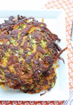 Zucchini & Sweet Potato Latkes - this is really good! The only thing I would say is to remember to drain the water from the zucchini before mixing it with everything.  I had to do it after, and I think I lost a little flavor that was already mixed in from the spices.  Really yummy though!  I made a bunch and put them in the fridge to have with any meal.
