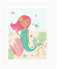 Sea Urchin Studio: Mermaid poster- perfect for a mermaid party!