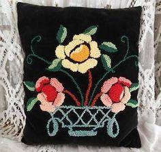 Vintage Victorian Cottage Home Velvet Hooked Rose Basket Pillow 15x12 | Vintageblessings