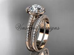 14kt rose gold unique diamond engagement ring by VinsienaDesigns