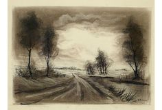 One Kings Lane - The Sophisticated Study - Charcoal Landscape Drawing