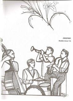Musiciens. Dentelle aux fuseaux Lace bobbin