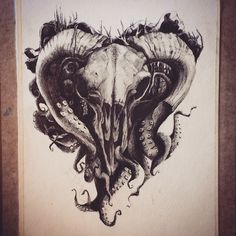 #illustration #skull #goat #octopus #tattoo #inspiration #animals #sketch #goth…