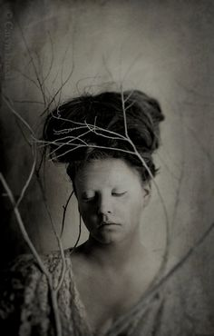 Being Still - FREE SHIPPING - Print Gray White Cream Girl Face Painted Strange Portrait Branches Tree Twigs Shadows Art Creepy Surreal