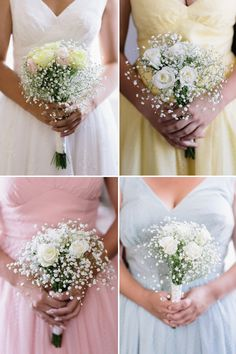 Pretty pastels and delicate bouquets, perfect for spring! Photo by Mary Sylvia Photography Inc. | junebugweddings.com