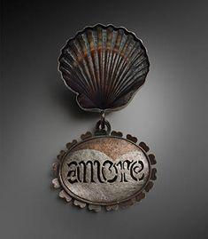 Nadine Kariya: Amore Brooch/Pendant, Brooch/Pendant in scalloped shell, sterling silver, pierced shakudo, silver onlaid on brass and shakudo...