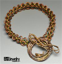 """""""Theresa is our resident chain mail aficionado, and chose to bring out all the different blue, pink, and green tones of her squiggle's patina with colored jump rings in a double-rosette-design chain-mail bracelet. She also fabricated a toggle bar for the clasp using copper wire and the same fusing and heat patina techniques that were used to make the squiggle.""""  But check out what the other editor created!!"""
