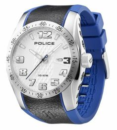 Police Men's PL-12557JS/04B Topgear-X Luminous Dial Two-Tone Watch Police. Save 64 Off!. $101.69. Second-hand feature and minute track on bezel ring. Date window at 3 o'clock. Water-resistant to 330 feet (100 m). Silver textured dial with luminous hands and hour markers. Blue rubber strap with black leather strip in center