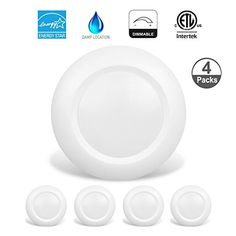 JULLISON 4 Packs 6 Inch LED Low Profile Recessed & Surface Mount Disk Light, Round, 15W, >900 Lumens, 3000K Soft White, CRI80, Driverless Design, Dimmable, ENERGY STAR, ETL Listed, White #JULLISON #Packs #Inch #Profile #Recessed #Surface #Mount #Disk #Light, #Round, #Lumens, #Soft #White, #CRI, #Driverless #Design, #Dimmable, #ENERGY #STAR, #Listed, #White