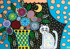 Ambrosino Art PRINT Flowers and the Moon by kerriambrosino on Etsy
