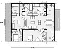 Five Bedroom, Three Bath Shipping Container Home Floor Plan: